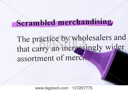 Scrambled Merchandising Word Highlighted