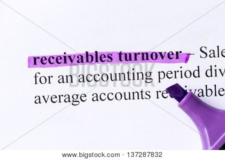 Receivables Turnover Word Highlighted
