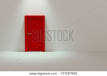 3d Rendering of Red Door on White Wall