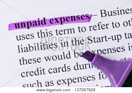Unpaid Expenses Word Highlighted