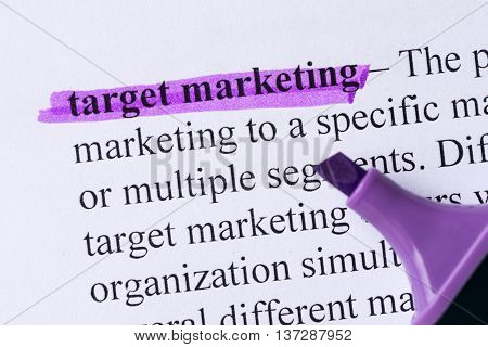 Target Marketing Word Highlighted