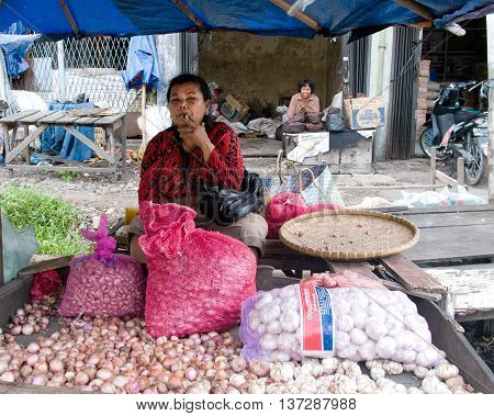 Local People Sell Local Vegetables At The Market ,  Indonesia.