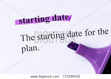 Starting Date Word Highlighted