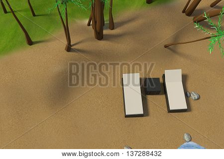 3D rendering of low poly beach scene with white sun bed