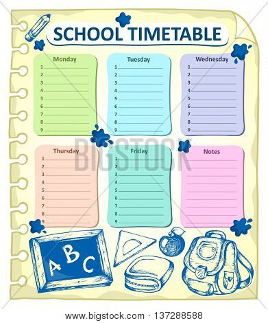 Weekly school timetable topic 4 - eps10 vector illustration.