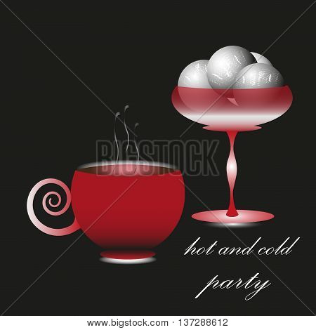 Drawing vector hot and cold party Vector illustration on black background hot and cold party, ice cream in the cream freezer, the red cup of coffee or tea