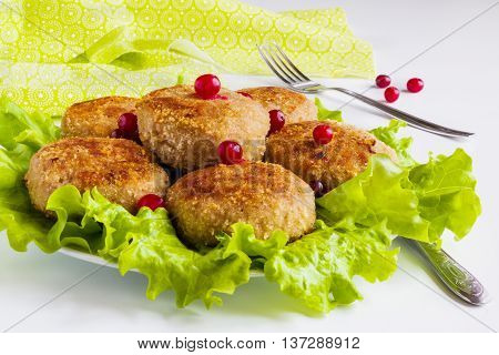 Roasted chicken cutlets and green lettuce on plate on white table.