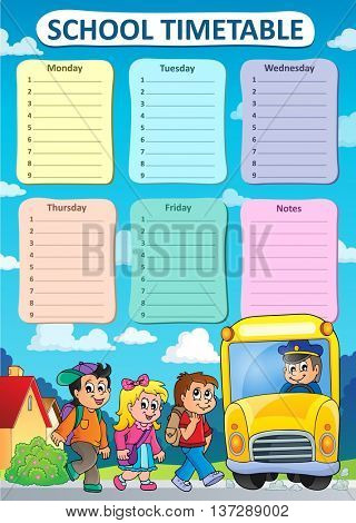 Weekly school timetable theme 9 - eps10 vector illustration.