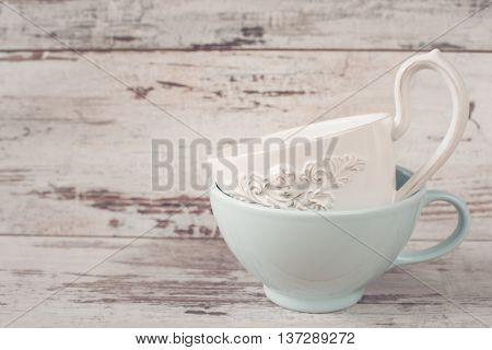 Simple Rustic White And Blue Crockery, Empty Dishes. Two Large Bowls Each Other. Wooden Background,