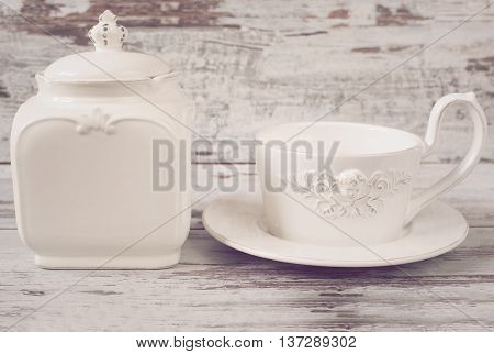 Simple Rustic White And Blue Crockery, Empty Dishes. Large Bowl, Cup And Porcelain Jar With Lid. Woo