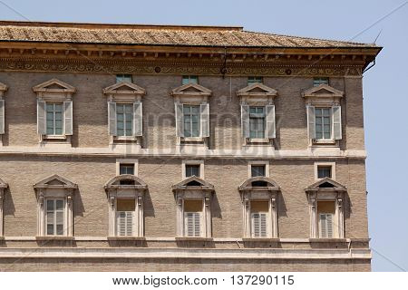 Vatican City. The Pope's window from which he delivers the angelus. Saint Peter's square.