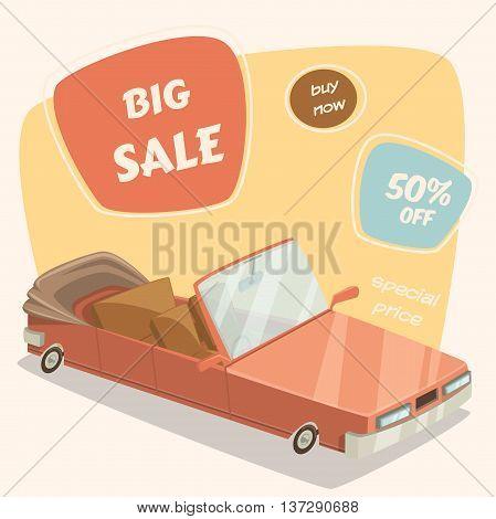 Car sale. Retro car in cartoon stile. Vector illustration