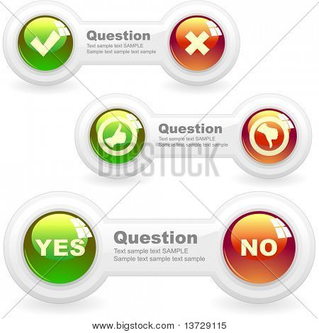 Yes and No elements. Vector illustration.