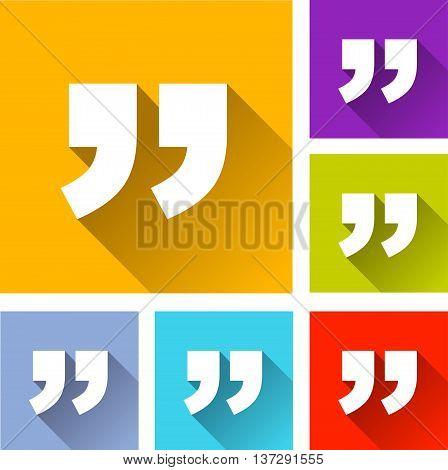 illustration of quotation marks flat icons set