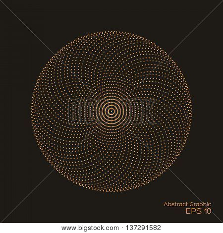 Abstract dotty symmetrical pattern gold and brown color on black background. Vector of halftone design element. Vector illustration.