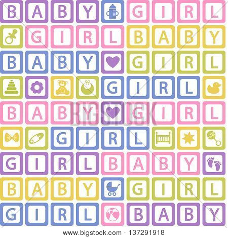 seamless pattern with  blocks baby girl - vector illustration, eps