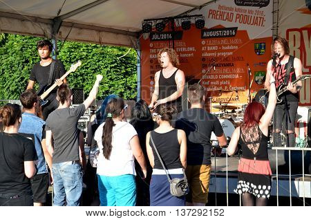 Bytca, Slovakia - July 1, 2016: Open air concert of rock music band called