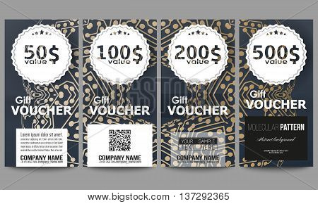 Set of modern gift voucher templates. Golden microchip pattern, abstract template with connecting dots and lines, connection structure. Digital scientific vector background.