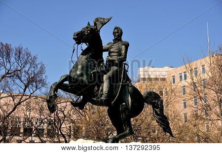 Washington DC - April 10 2014: Equestrian statue of President Andrew Jackson stands at the center of Lafayette Park