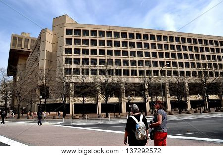 Washington DC - April 11 2014: The J. Edgar Hoover F.B.I. Building on Pennsylvania Avenue