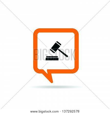 Square Orange Speech Bubble With Judge's Hammer Icon Illustration