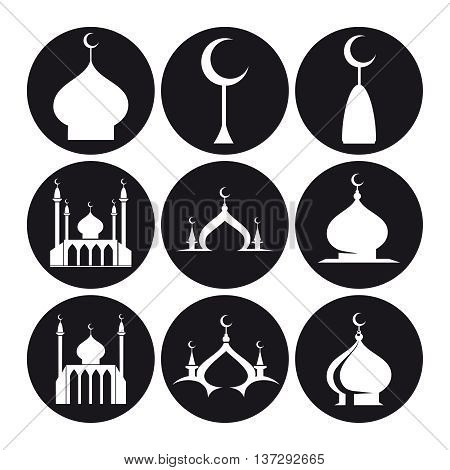 Black and white islamic mosque and dome of mosque set icons. Vector illustration
