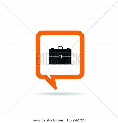 Square Orange Speech Bubble With Suitcase Icon Illustration