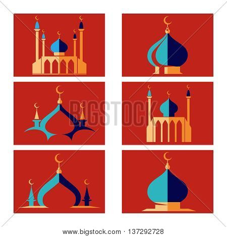 Set of arabic islamic dome of mosque icons. Vector illustration