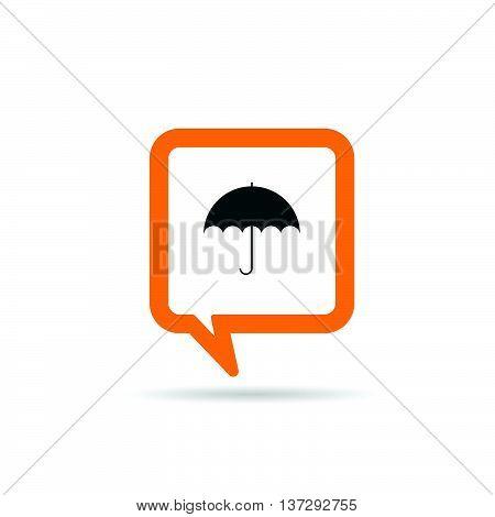 Square Orange Speech Bubble With Umbrella Icon Illustration