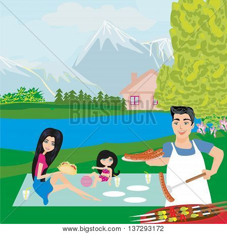 happy family on picnic on rural landscape , vector illustration