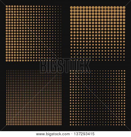 Set of abstract halftone backgrounds. Brown color dots on black background. Vector illustration.
