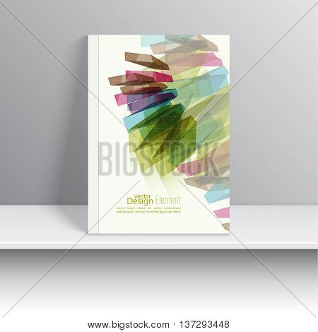 Magazine Cover with colored crystals, trellis structure.  For book, brochure, flyer, poster, booklet, leaflet postcard flier headline annual report vector