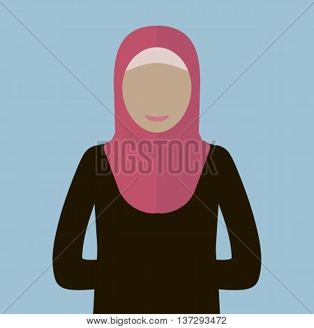 A muslim woman in hijab icon. Vector illustration flat design