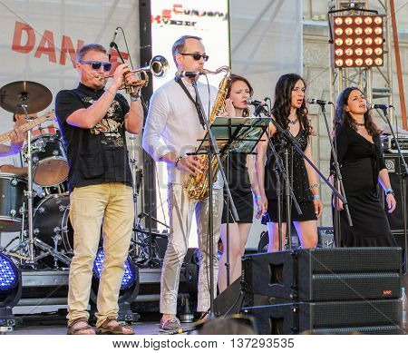 St. Petersburg, Russia - 2 July, Musicians from the group bek vocals on site, 2 July, 2016. Annual international festival of jazz and blues in St. Petersburg.