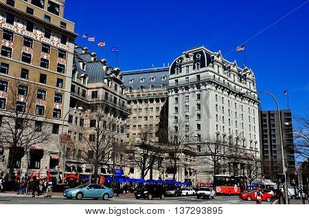 Washington DC - April 10 2014: The legendary five-star luxury Willard Hotel on Pennsylvania Avenue *