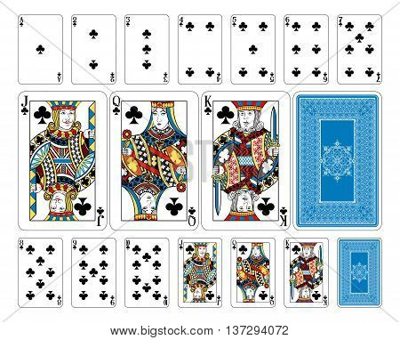 New original playing card deck design. The deck features custom extremely detailed court cards with the appropriate suit symbol worked into the garb of the Jack, Queen and King characters in multiple ways. The joker and ace of spades playing cards feature