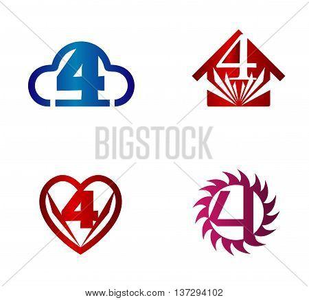 Number 4 logo. Vector logotype design set