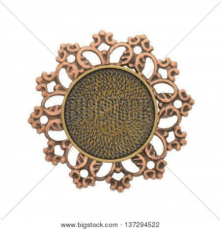 Vintage bronze pendant isolated on white background