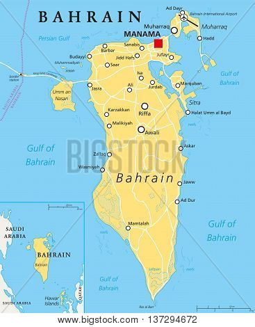 Bahrain political map with capital Manama. Island country, archipelago and kingdom near western shores of Persian Gulf in the Middle East. English labeling. Illustration.