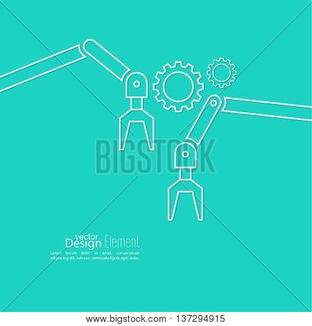 Automated robot arm with gears symbol. For the Assembly and loading of product. Vector background with cog wheel. Automatic production process
