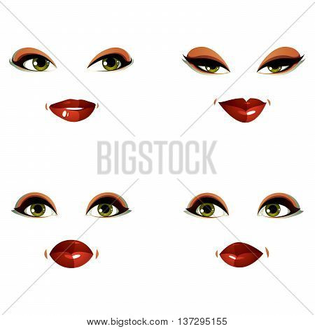 Attractive young ladies vector art portraits collection girls with makeup and green eyes. Facial expression of females different characters.