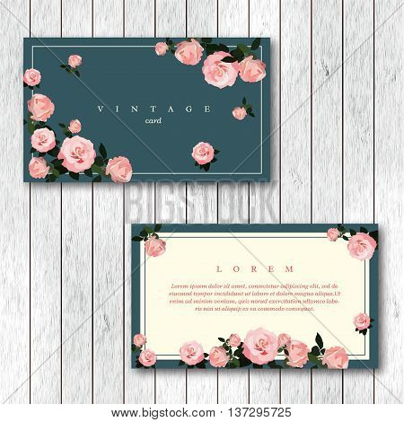 Set of vintage horizontal business cards template with flowering garden roses. Pink color roses on a turquoise and white background. Vector illustration.