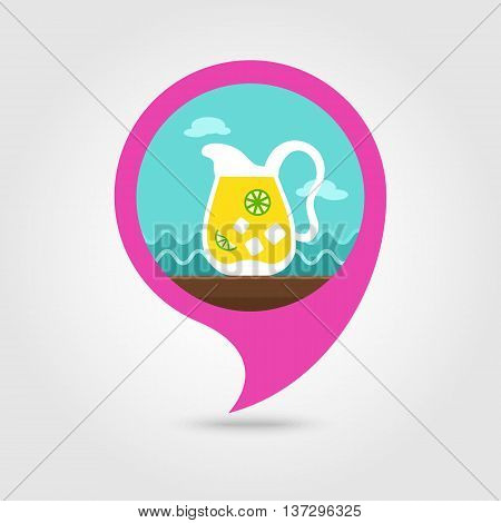 Jug of lemonade with slices of citrus and ice vector pin map icon. Beach Map pointer. Summer Map markers. Summertime. Vacation eps 10