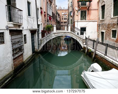 Canal In Venice, Venezia, Italy, Europe With Bridge