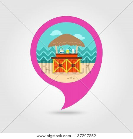 Cafe Bar bungalows on the beach vector pin map icon. Beach Map pointer. Summer Map markers. Summertime. Vacation eps 10