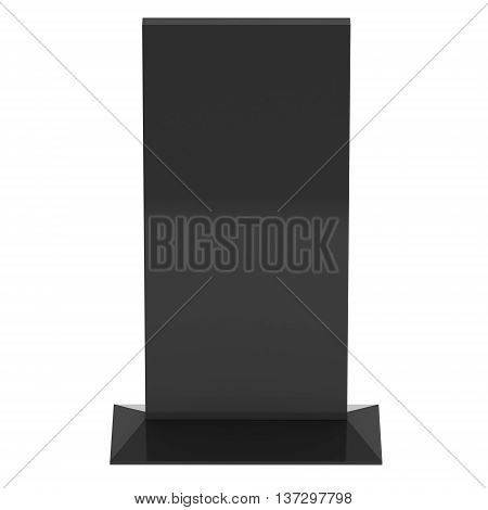 LCD Screen Stand. Blank Trade Show Booth. 3d render of lcd screen isolated on white background.