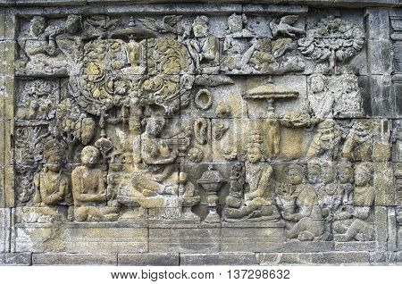 Detail Of Carved Relief At Borobudur On Java, Indonesia.