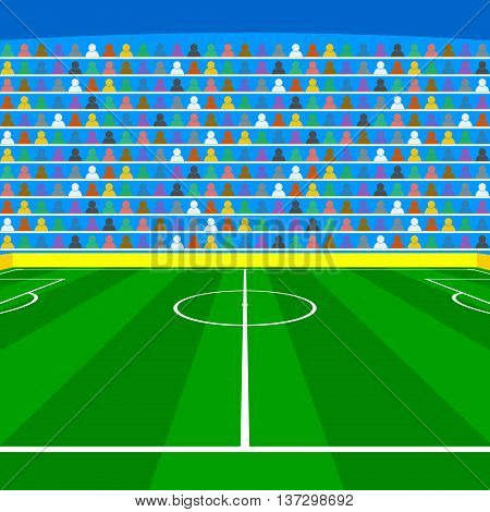Soccer field with Line and Grass Texture vector illustration