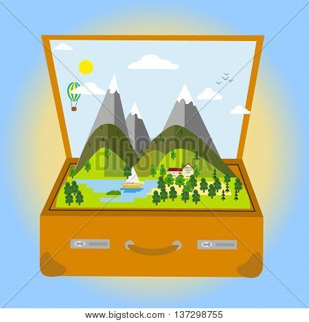 Travel and Tourism consept with Famous World Landmarks Realistic Drawing Elements. Vector Illustration travel concept. Open suitcase with tropical island inside travel concept.