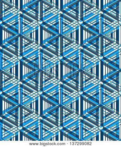 Regular blue endless pattern with intertwine three-dimensional figures continuous illusory geometric background clear EPS10.